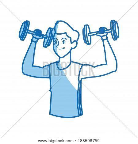 sport man dumbbell fitness gym practice workout vector illustration