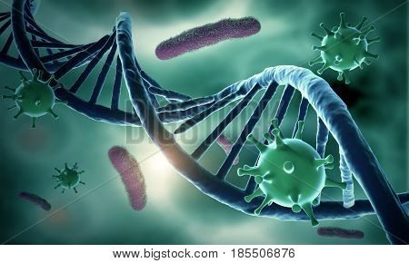 DNA structure and HIV and bacteria infected