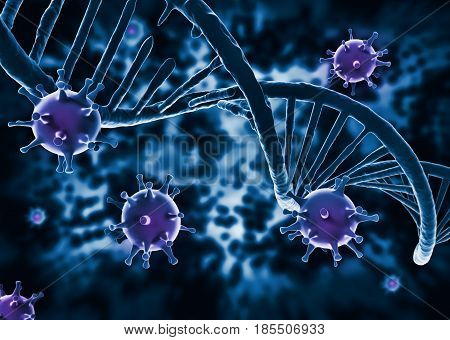 DNA structure and Virus HIV - infected