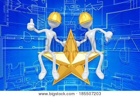 Construction Workers On A Star The Original 3D Characters Illustration