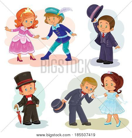 Set of clip art illustrations with young children in historical costumes