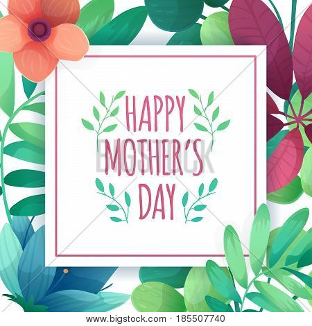 Template designt banner for happy mother's day. Square poster for mom holiday with flower decoration.  Square layout on natural, floral background. Vector