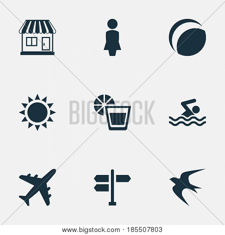 Vector Illustration Set Of Simple Seaside Icons. Elements Sun, Crossroad, Woman And Other Synonyms Direction, Ball And Games.