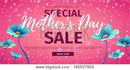 Template design discount banner for happy mother's day. Horizontal poster for special mother's day sale with blue nature, flower decoration.  Layout on pink background. Vector