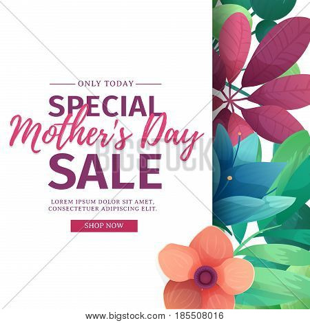 Template design discount banner for happy mother's day. Square poster for special mother's day sale with flower decoration.  Square layout on natural, floral background. Vector