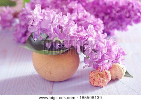 Spring purple lilac fresh flower close-up horizontal still life background. Blooming romance decoration macro template.