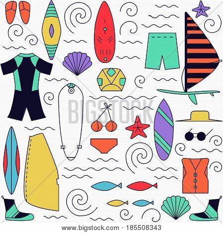 Windsurfing Colorful Background.