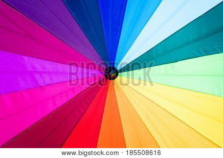 Rainbow spectrum multicolored background of an umbrella.