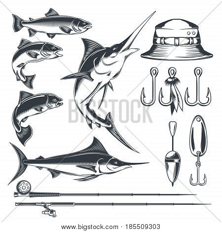 Set of icons on the theme of fishing - marlin and trout in various poses, fishing rod, fishing hooks, float and baubles, hat. Engraving style.