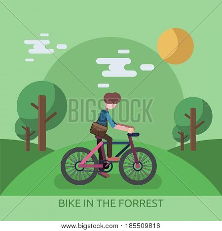 Bike In The Forrest Conceptual Design Great flat illustration concept icon and use for travel, vacation, holiday and much more.