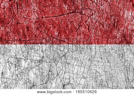 Grudge stone painted Monaco flag close up