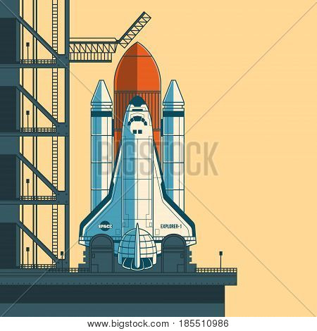 illustration of a retro style rocket is ready for launch.