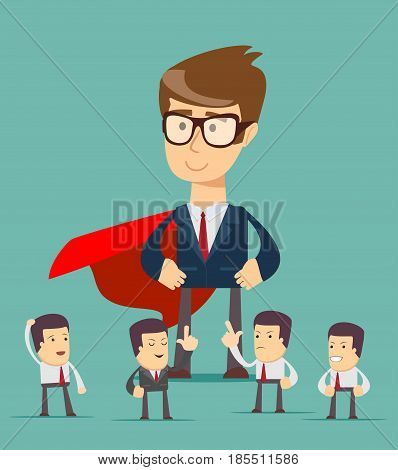 Sketch of working little people and big superhero. Doodle cute concept about teamwork with leader. Cartoon vector illustration for business design.