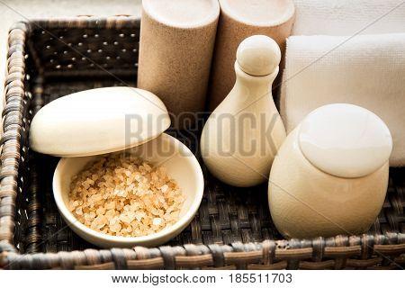 Bath salt in the white ceramic bowl