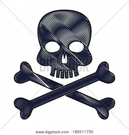 drawing skull bones danger poison laboratory vector illustration