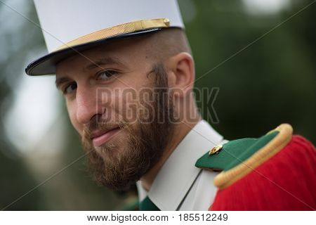 Paris, France - July 14, 2012. The Legionnaire of the French Foreign Legion takes part in the annual military parade in honor of the Bastille Day.
