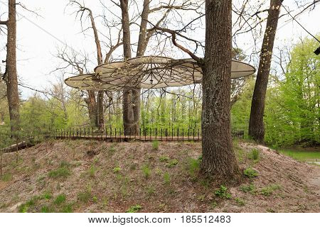 Gomel, Belarus - 30 April, 2017: A Beautiful Architectural Solution. Arbor Without Walls On The Basi