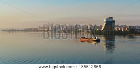 Ship Sailing On The River In The Morning At Dawn Iii