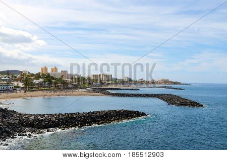 Beautiful coastal view of Fañabe beach in Las Americas Tenerife Canary islands Spain.
