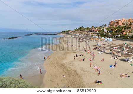 PLAYA EL DUQUE; Canary islands Tenerife Spain - March 22 2017.Beautiful coastal view of El Duque beach in Costa Adeje.