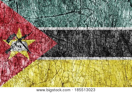 Grudge stone painted Mozambique flag close up