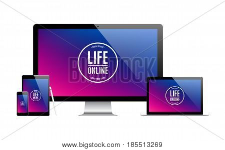 mockup gadget and device: stylus smartphone tablet laptop and computer monitor black color with colored screen isolated on white background. stock vector illustration eps10