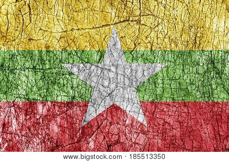 Grudge stone painted Myanmar flag close up