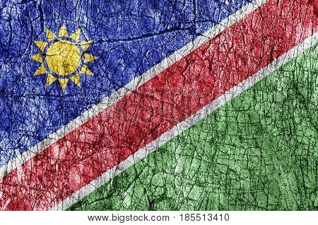 Grudge stone painted Namibia flag close up