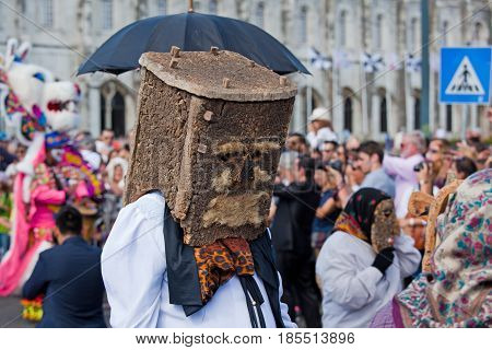 Lisbon Portugal - May 6 2017: Parade of costumes and traditional masks of Iberia at the XII International Festival