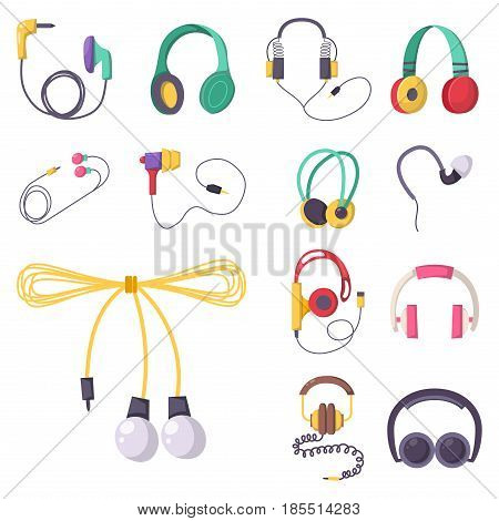 Headphones vector set music technology accessory studio sound design collection dj speaker equipment small element volume. Earphone electrical mobility headset graphic.