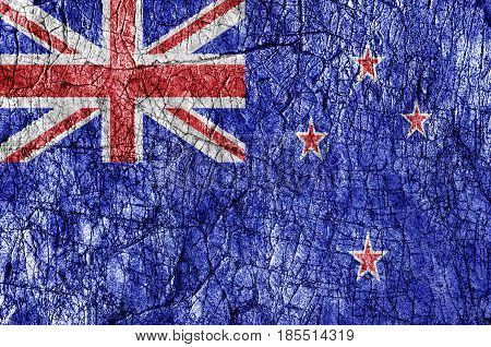 Grudge stone painted New Zeland flag close up
