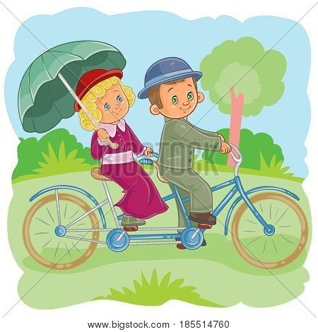 illustration of small children riding on a tandem bike