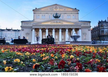 Flower bed infront of Big Theatre in Moscow, Russia