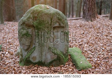Old Memorial Stone Of The Former Monastery Grab In Bavaria