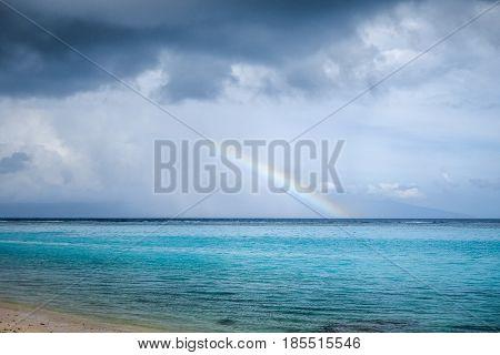 Rainbow On Temae Beach Lagoon In Moorea Island