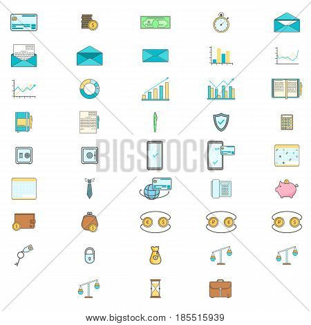 Simple Set ofBusinessand Finance Vector FlatIcons. Contains suchIconsascredit card, diagram, mail, safe box, calendar, phone, scales, piggy and more.