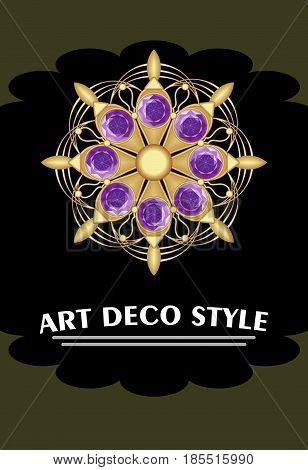Expensive art deco filigree brooch in circle composition with purple amethyst, jewelry in victorian style, antique gold jewel, vector EPS 10