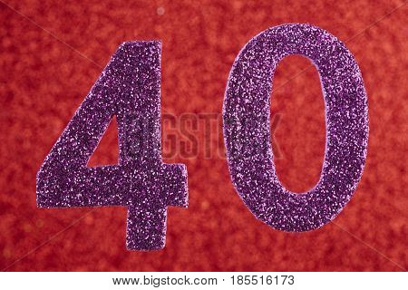 Number forty purple color over a red background. Anniversary. Horizontal