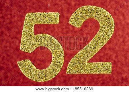 Number fifty-two yellow over a red background. Anniversary. Horizontal