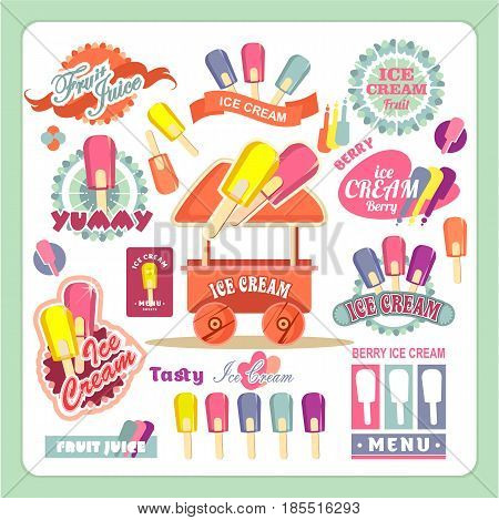 Vector emblems ice cream badges signs for shopping tents stores design elements isolated on a white background in a flat -flette style