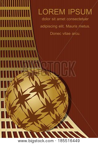 Dark red background with golden grid and sphere in op-art style, blank space for own text, 3d illusion, vector EPS 10