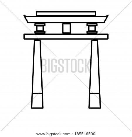 japan gate torii architecture landmark outline vector illustration