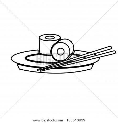 japanese sushi food dish stick culture outline vector illustration