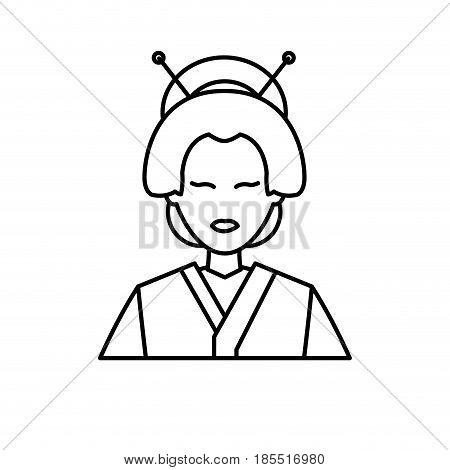 character japanese girl geisha traditional costumen line vector illustration