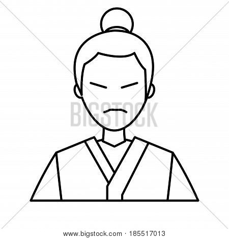 character japanese man clothes culture line vector illustration
