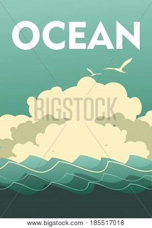 Vector illustration of a vintage seascape poster with waves of a cloud in the sky in front of a storm a breeze