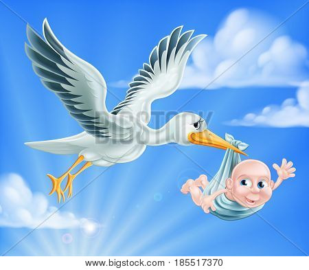 An illustration of a cartoon stork flying through the sky delivering a newborn baby. A classic metaphor for pregnancy or child birth