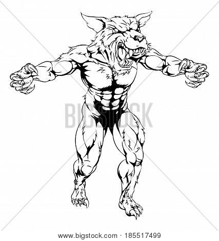 A black and white wolf man, werewolf or wolf sports mascot character with claws out