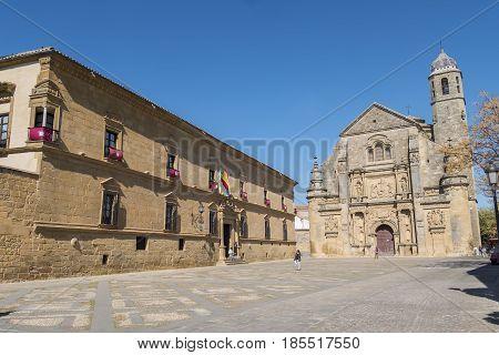 Savior Chapel (El Salvador) and the Parador Hotel Ubeda Jaen Spain