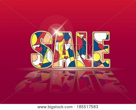 Creative word SALE on red glowing background. Vector illustration. Marketing advertisement clearance promo template.